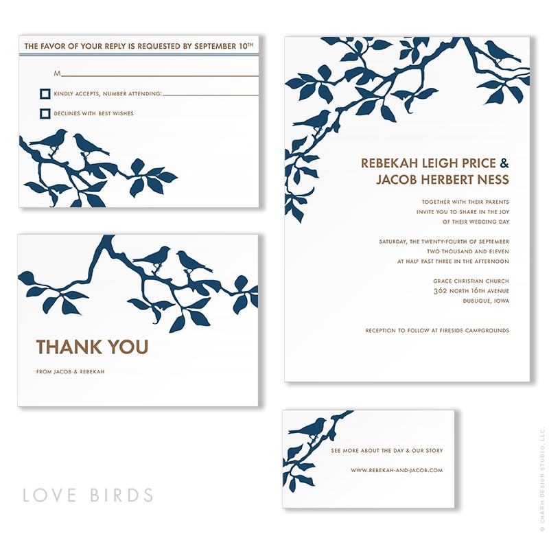 Love Birds - wedding stationery design by Charm Design Studio