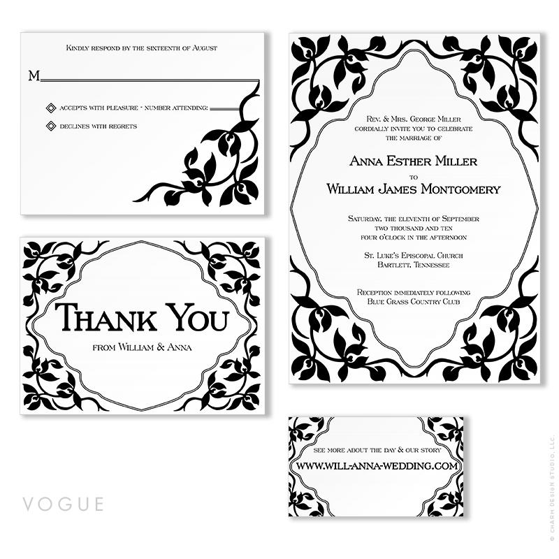 Vogue - wedding stationery design by Charm Design Studio