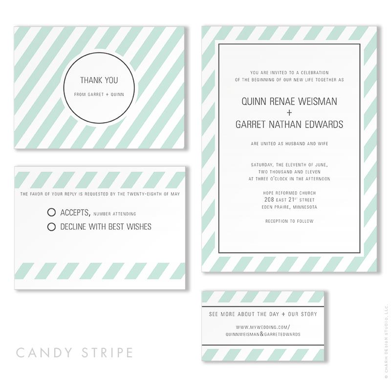 Candy Stripe - wedding stationery design by Charm Design Studio