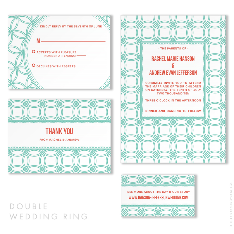 Double Wedding Ring - wedding stationery design by Charm Design Studio