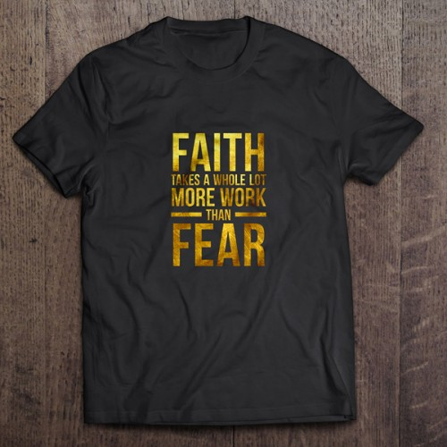 Faith vs. Fear gold foil T-shirt by Charm Design Studio