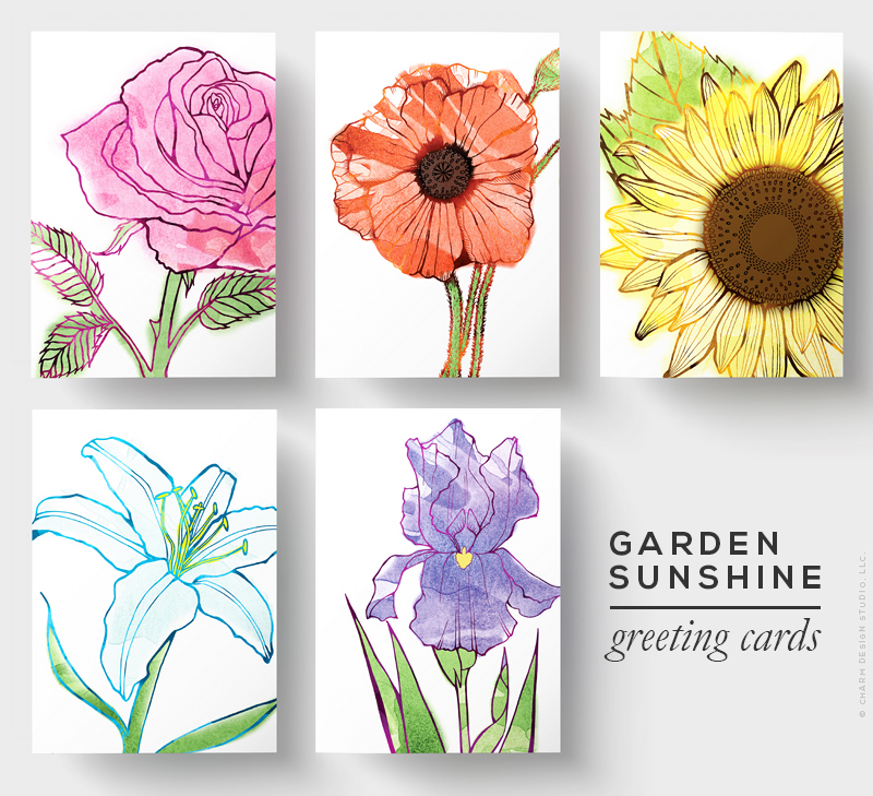 Garden Sunshine greeting card designs by Charm Design Studio