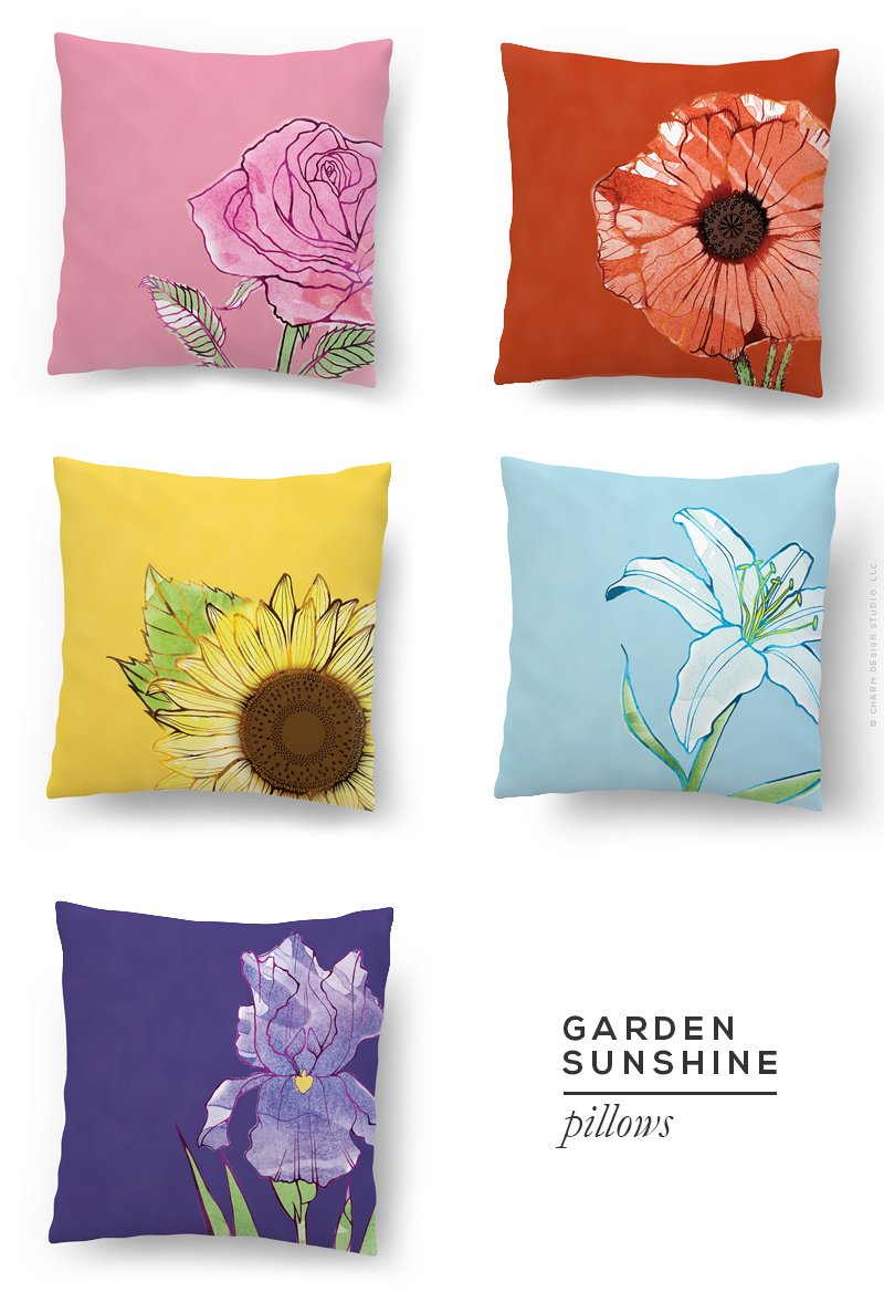 Garden Sunshine pillows by Charm Design Studio