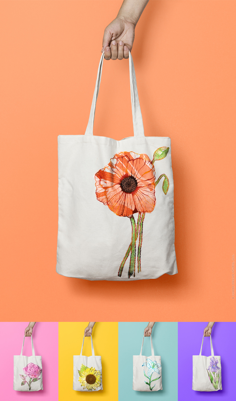 Garden Sunshine tote bags by Charm Design Studio