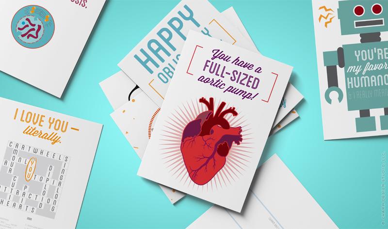 Geekery Greetings cards by Charm Design Studio