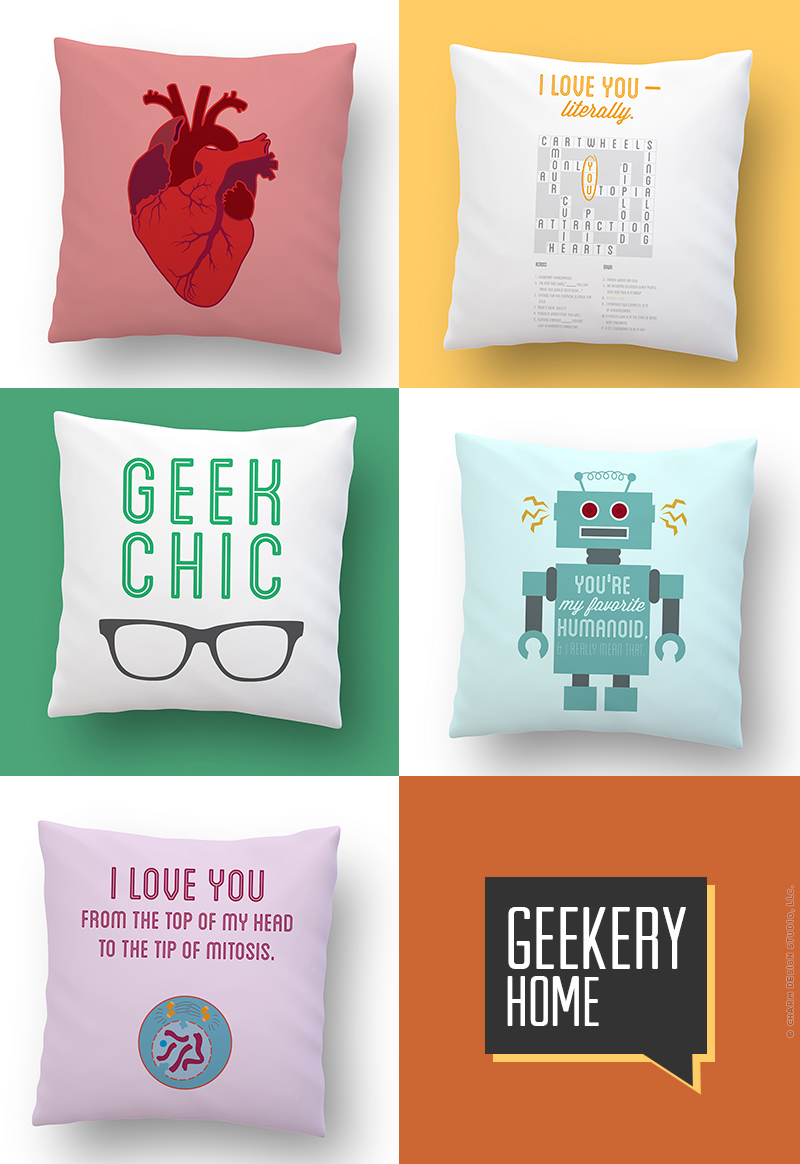 Geekery pillows by Charm Design Studio