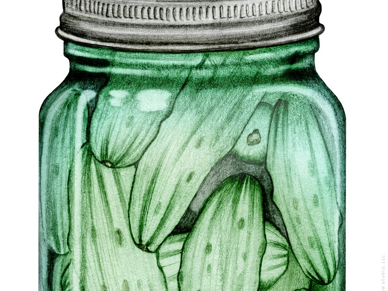 A Little Bit Crunchy - canned pickles illustration - by Charm Design Studio