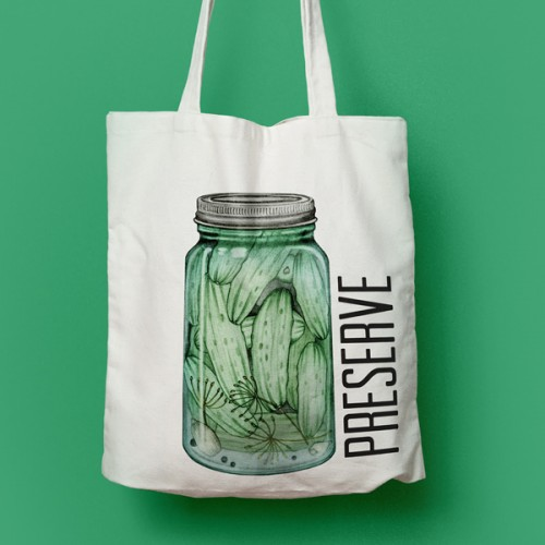 A Little Bit Crunchy - Preserve tote bag - by Charm Design Studio