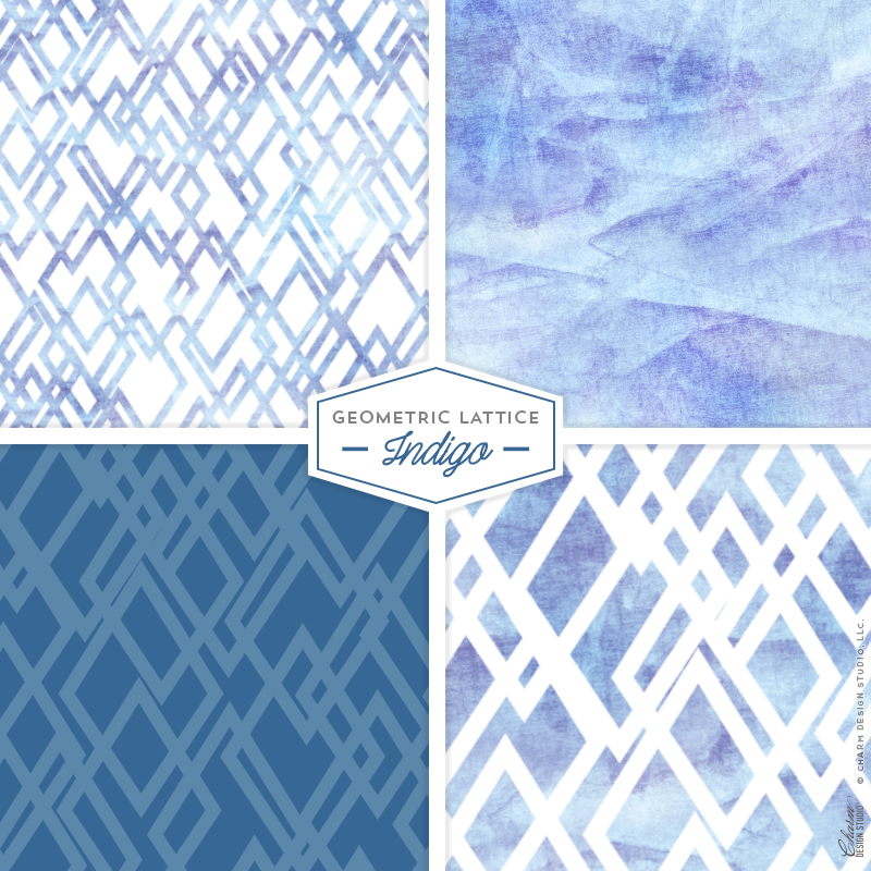 Geometric Lattice: Indigo by Charm Design Studio