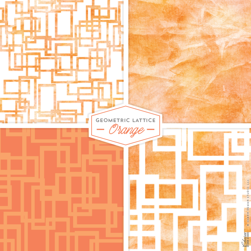 Geometric Lattice: Orange by Charm Design Studio