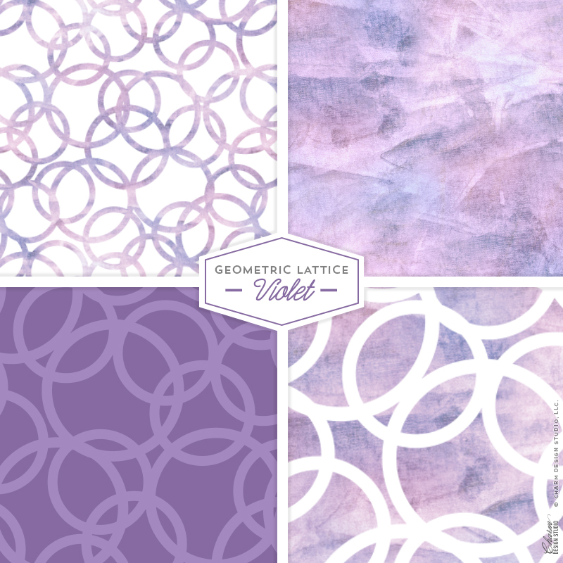Geometric Lattice: Violet by Charm Design Studio