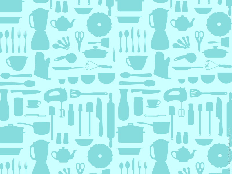 Kitchen Cacophony repeated pattern design by Charm Design Studio