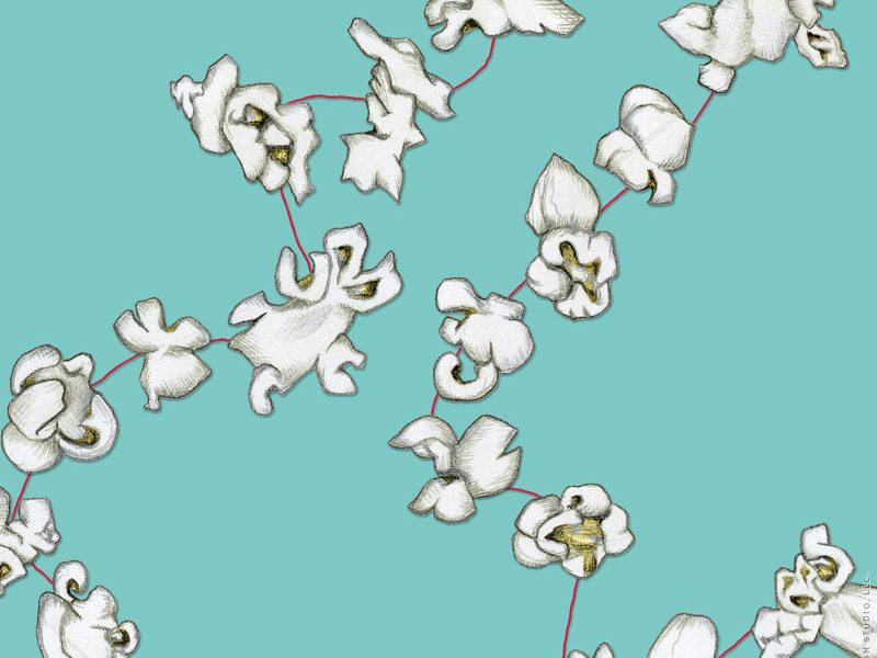 Popcorn Garland repeated pattern design by Charm Design Studio, LLC.