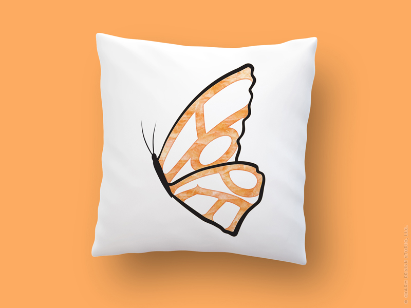 Hope Needs Wings pillow by Charm Design Studio, LLC.