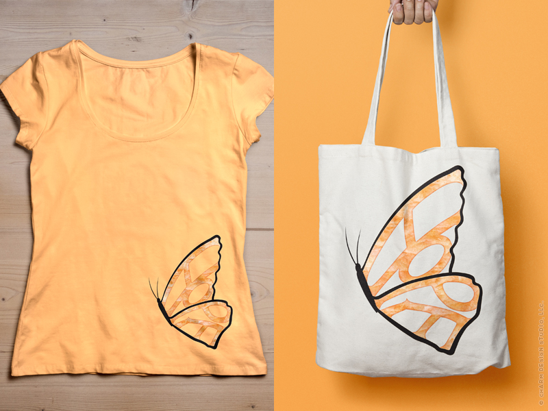 Hope Needs Wings t-shirt and tote bag by Charm Design Studio, LLC.